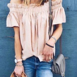 Lucca off the shoulder blush peach top Nordstrom